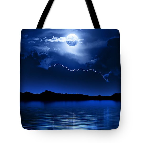 Fantasy Moon And Clouds Over Water Tote Bag