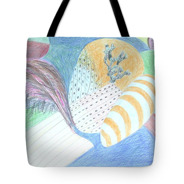 Tote Bag featuring the drawing Fantasy Of Egg And Cactus by Esther Newman-Cohen