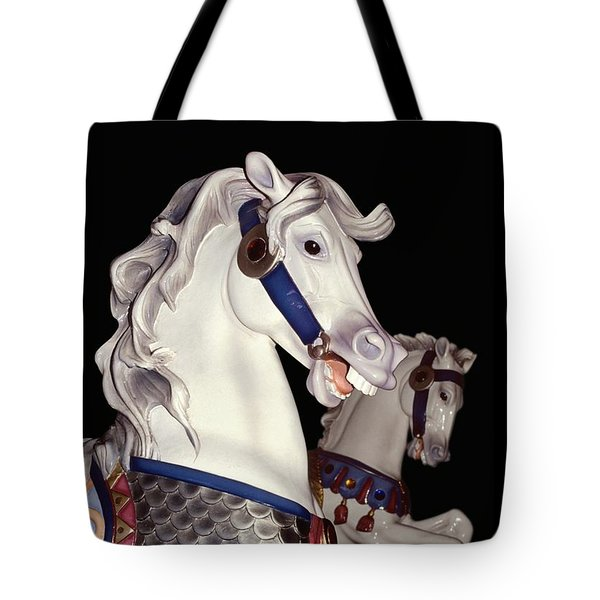 fantasy ponies - Grays on Black Tote Bag