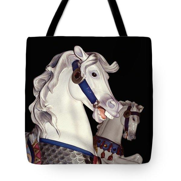 fantasy ponies - Grays on Black Tote Bag