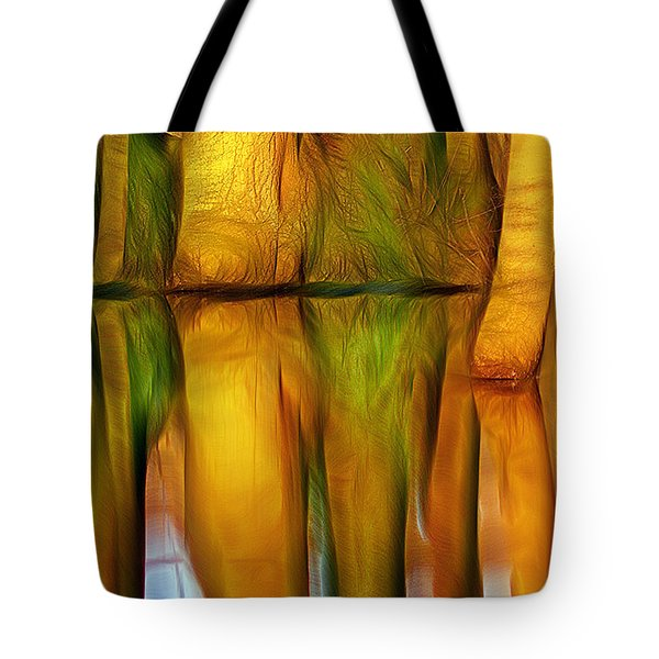 Fantasy Scenic Trees Over Lake Reflecting In Water Tote Bag by Odon Czintos