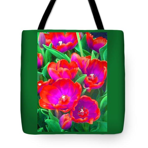 Fantasy Tulip Abstract Tote Bag by Margaret Saheed