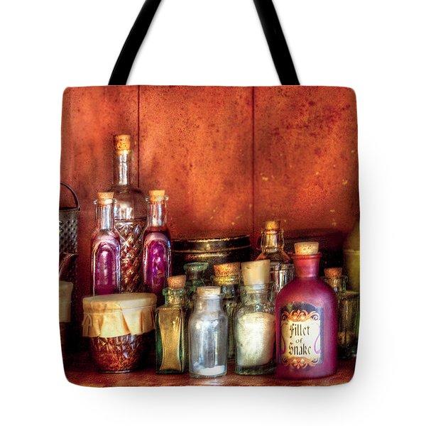 Fantasy - Wizard's Ingredients Tote Bag by Mike Savad