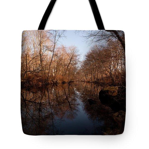 Far Mill River Reflects Tote Bag by Karol Livote