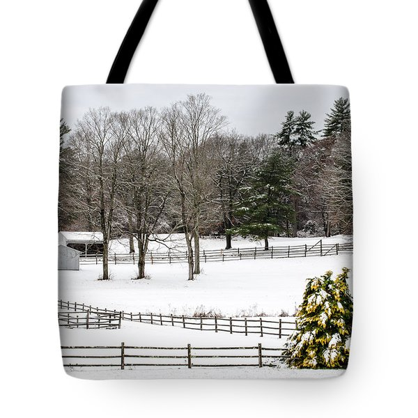 Tote Bag featuring the photograph Horse Farm And The Tree by Mike Ste Marie
