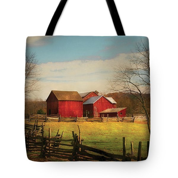 Farm - Barn - Just Up The Path Tote Bag by Mike Savad