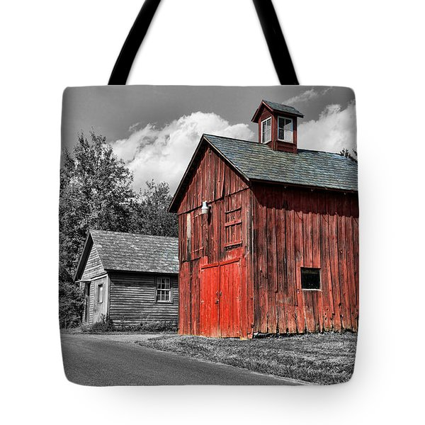 Farm - Barn - Weathered Red Barn Tote Bag by Paul Ward