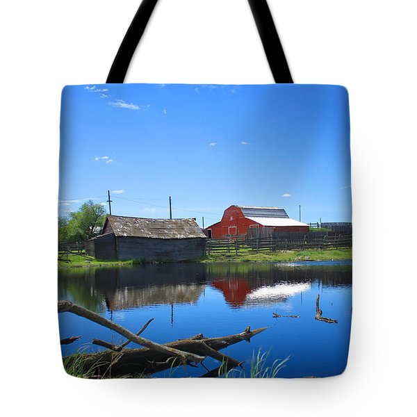 Farm Buildings And Pond. Tote Bag