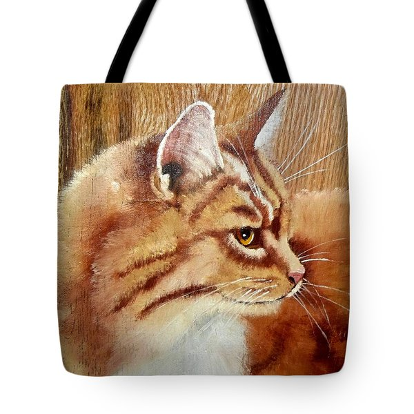 Farm Cat On Rustic Wood Tote Bag by Debbie LaFrance