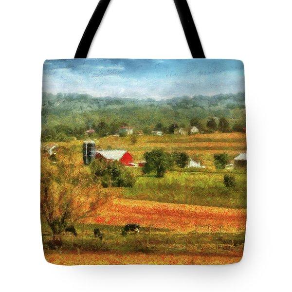 Farm - Cow - Cows Grazing Tote Bag by Mike Savad