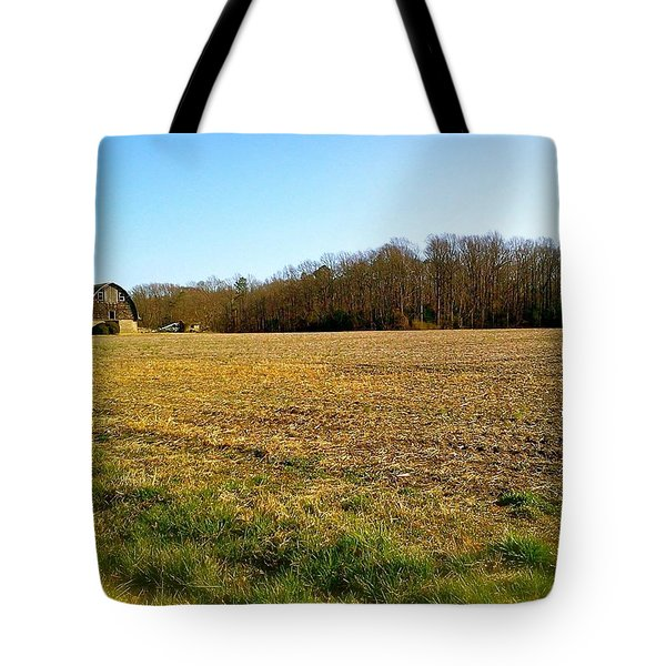 Farm Field With Old Barn Tote Bag