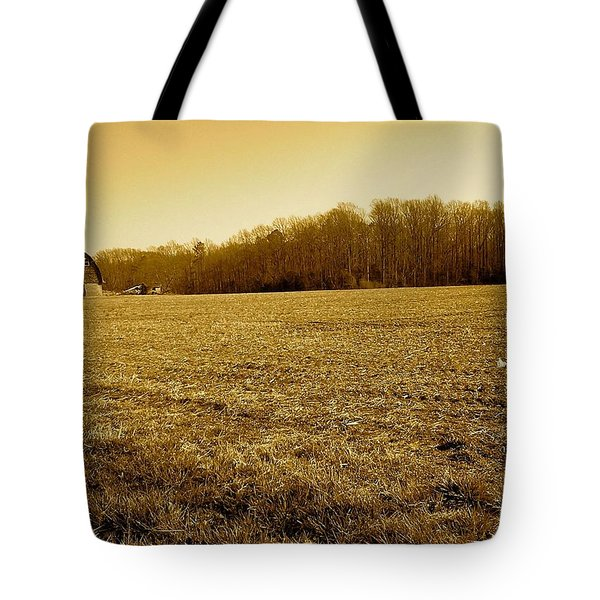 Tote Bag featuring the photograph Farm Field With Old Barn In Sepia by Amazing Photographs AKA Christian Wilson
