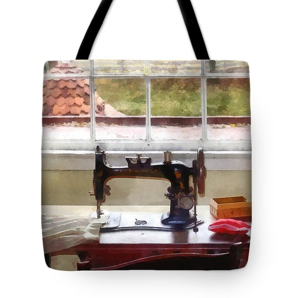 Farm House With Sewing Machine Tote Bag by Susan Savad