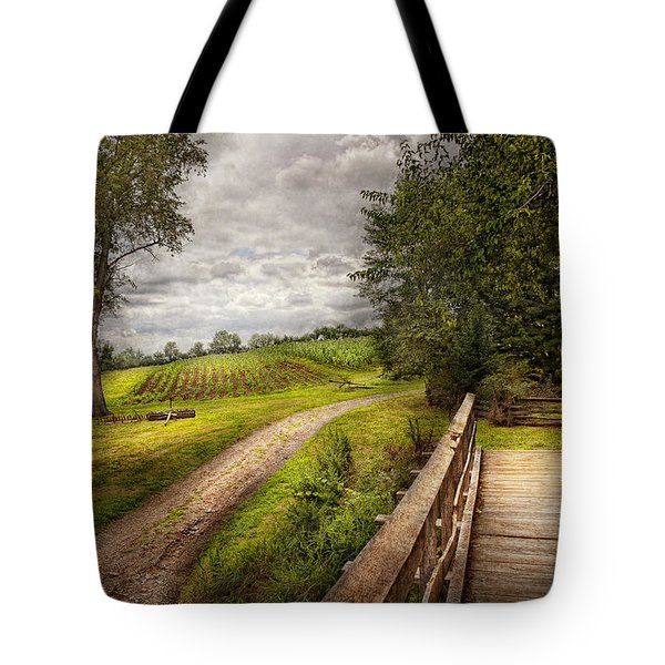 Farm - Landscape - Jersey Crops Tote Bag by Mike Savad