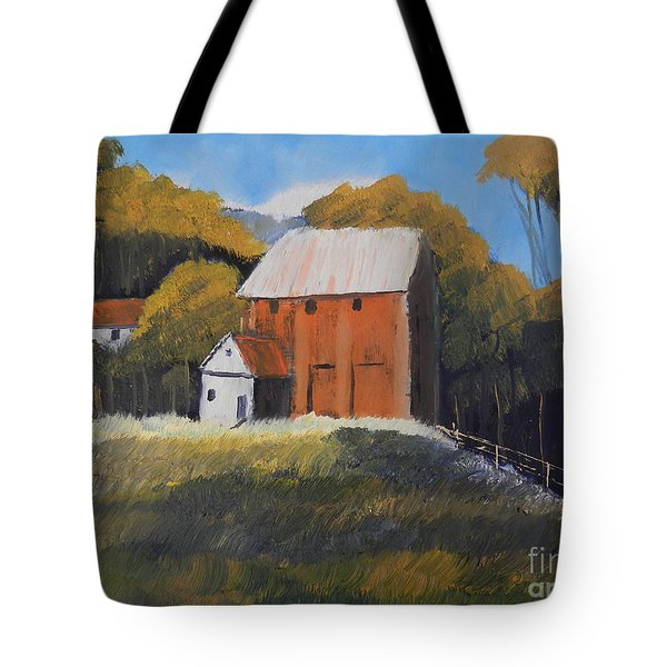 Farm With Red Barn Tote Bag