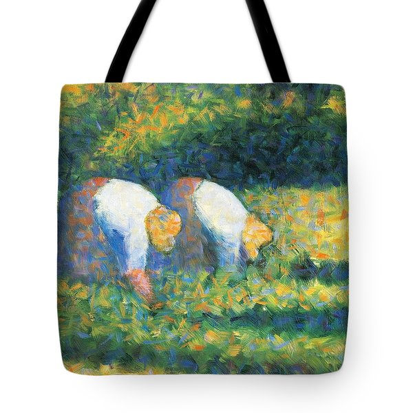 Farmers At Work Tote Bag by Georges Seurat