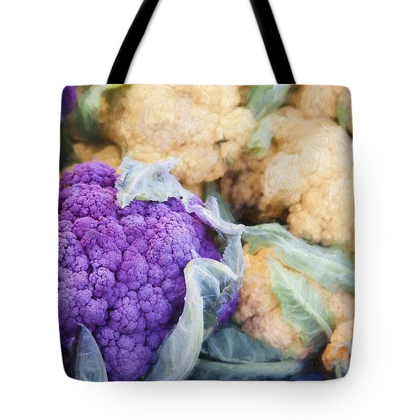 Farmers Market Purple Cauliflower Tote Bag by Carol Leigh