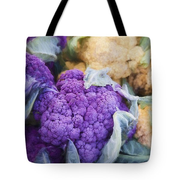 Farmers Market Purple Cauliflower Square Tote Bag by Carol Leigh