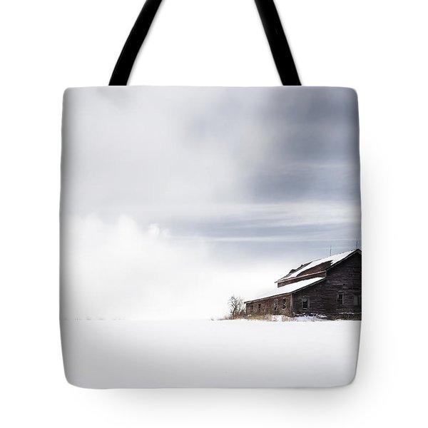 Farmhouse - A Snowy Winter Landscape Tote Bag by Gary Heller