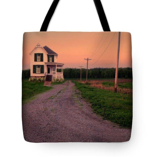 Farmhouse On Gravel Road Tote Bag by Jill Battaglia