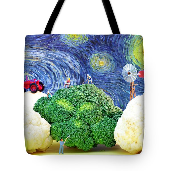 Farming On Broccoli And Cauliflower Under Starry Night Tote Bag by Paul Ge
