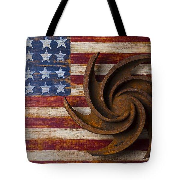 Farming Tool On American Flag Tote Bag