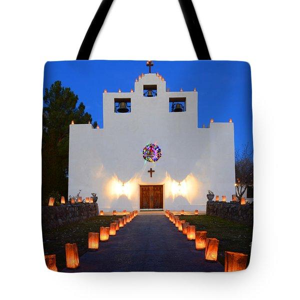 Farolitos Saint Francis De Paula Mission Tote Bag by Bob Christopher