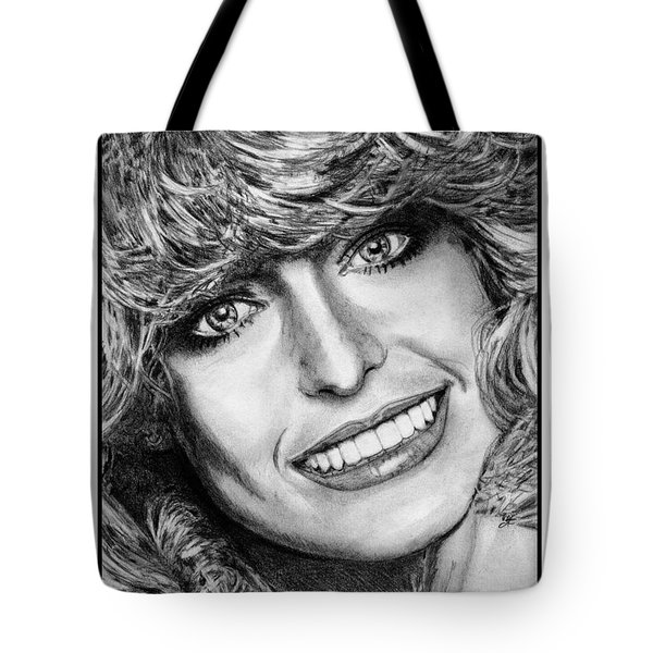 Tote Bag featuring the drawing Farrah Fawcett In 1976 by J McCombie