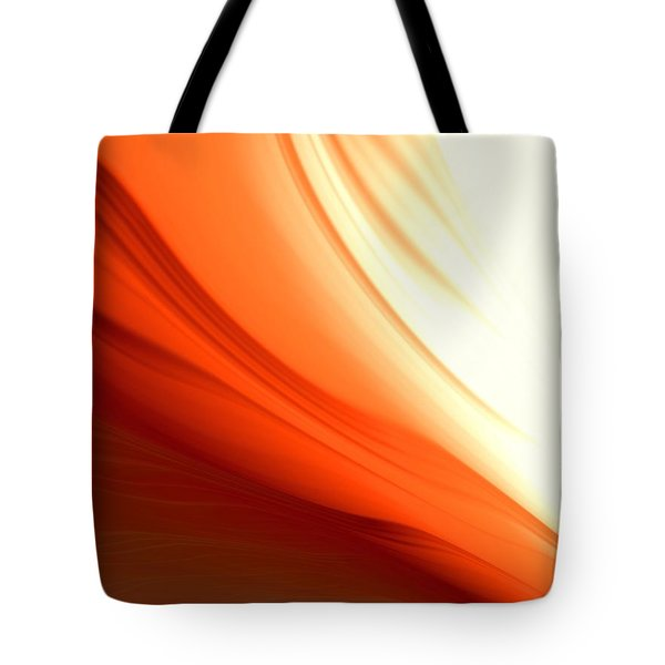 Tote Bag featuring the digital art Glowing Orange Abstract by Gabriella Weninger - David