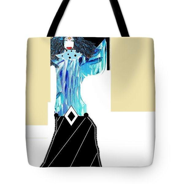 Tote Bag featuring the digital art Fashion Angel by Ann Calvo