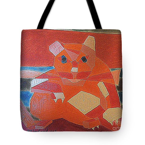 Fat Cat On A Hot Chaise Lounge Tote Bag by Richard W Linford