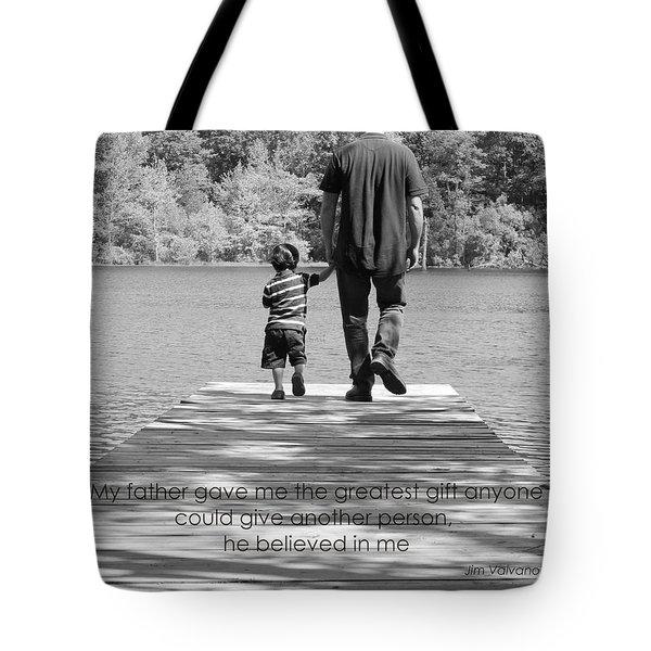 Father And Son Black White Tote Bag