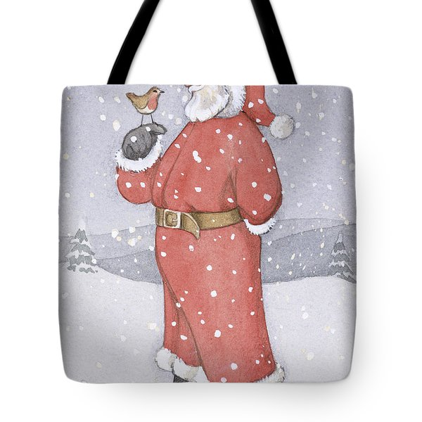 Father Christmas And A Robin Tote Bag by Lavinia Hamer