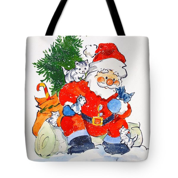 Father Christmas And Kittens, 1996  Tote Bag