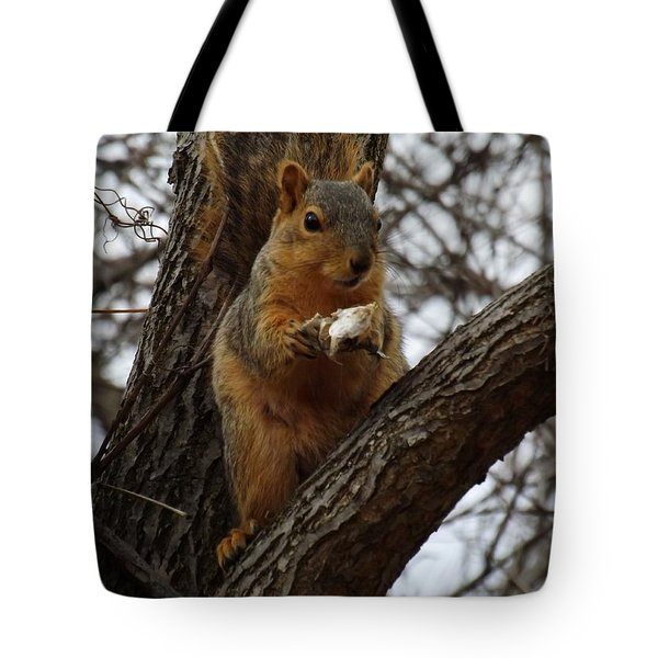 Feasting On Fish Fox Squirrel Tote Bag by Sara  Raber