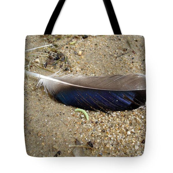 Feather And Inchworm Tote Bag
