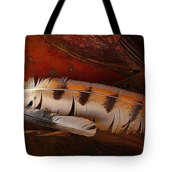 Feather And Leather Tote Bag