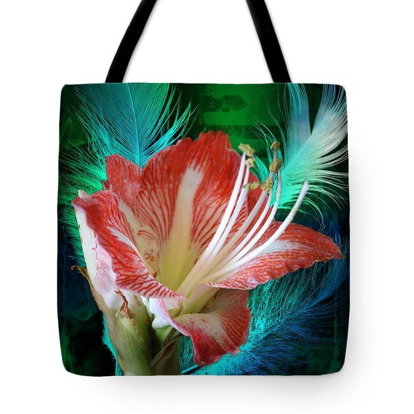 Feathered Amaryllis Tote Bag