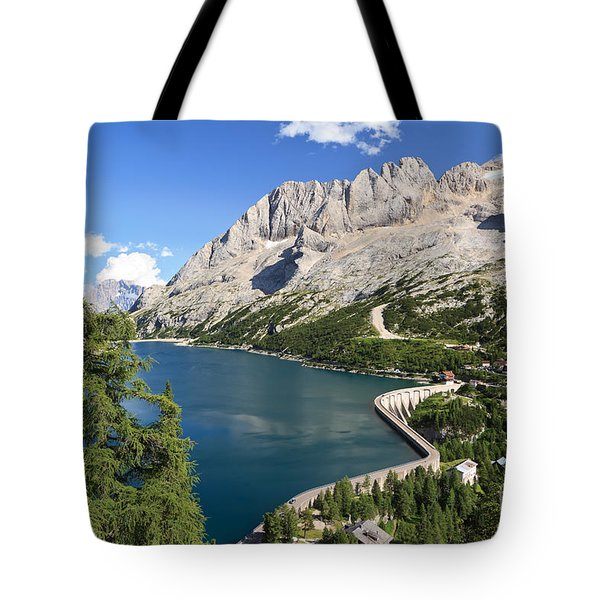 Tote Bag featuring the photograph Fedaia Pass With Lake by Antonio Scarpi