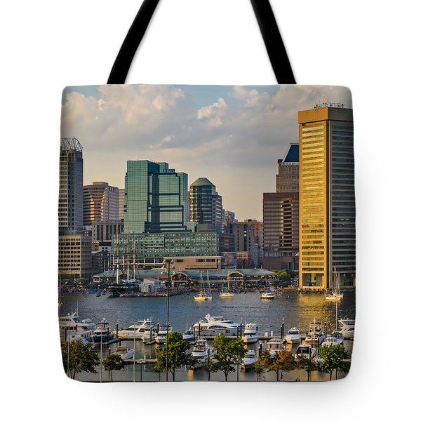 Federal Hill View To The Baltimore Skyline Tote Bag