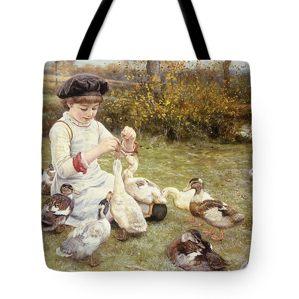 Feeding Ducks Tote Bag by Edward Killingworth Johnson