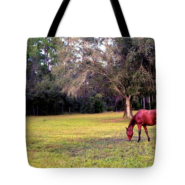 Feeding In The Pasture Tote Bag
