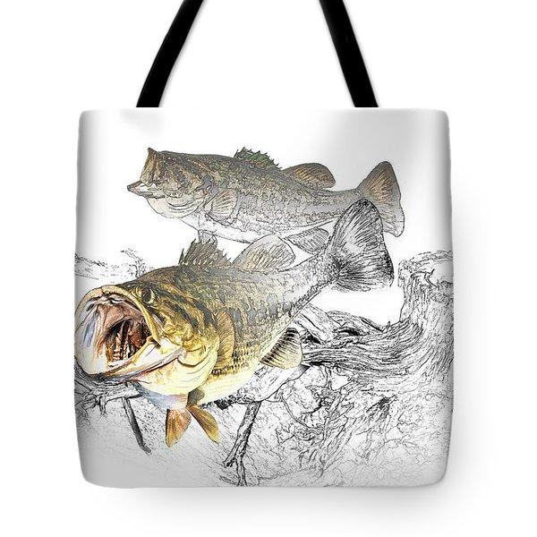 Feeding Largemouth Black Bass Tote Bag