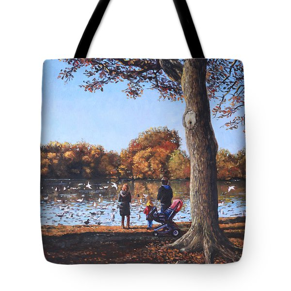 Feeding The Ducks At Southampton Common Tote Bag