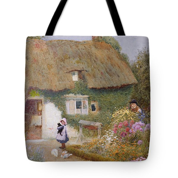 Feeding The Pigeons Tote Bag by Arthur Claude Strachan