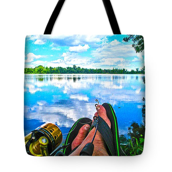 Feet Up Fishing Crab Orchard Lake Tote Bag