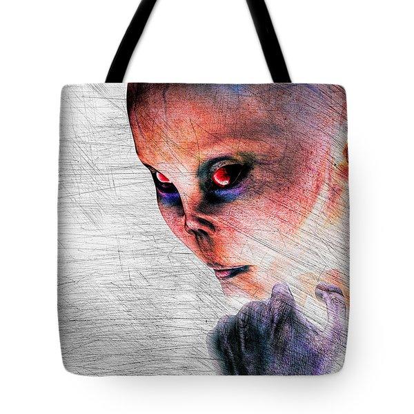 Female Alien Portrait Tote Bag by Bob Orsillo