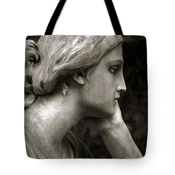 Female Angel Face Closeup - Female Angelic Face Portrait Tote Bag by Kathy Fornal