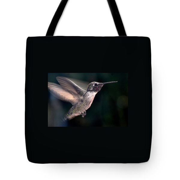 Tote Bag featuring the photograph Male Anna In Flight by Jay Milo