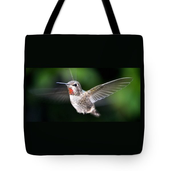 Tote Bag featuring the photograph Female Caliope Hummingbird In Flight by Jay Milo